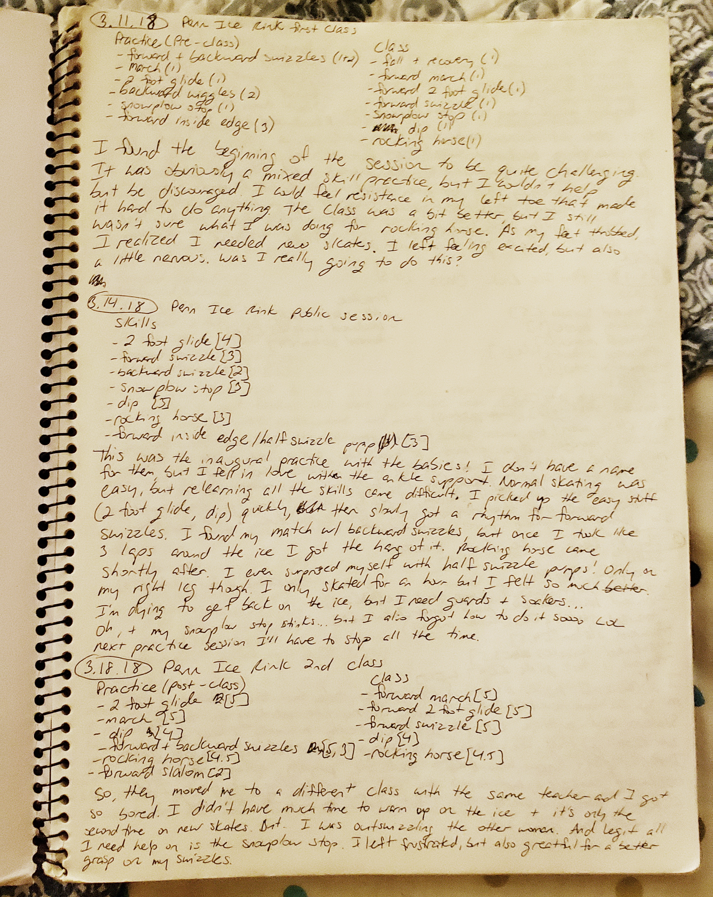 picture of notebook with writings of figure skating